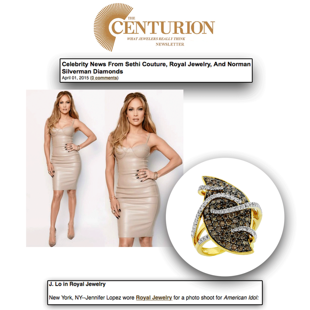 J-Lo never fails to leave us speechless! Thank youCenturion Newsletterfor featuring J-Lo sparkling in this dazzlingRoyal Jewelry ring.
