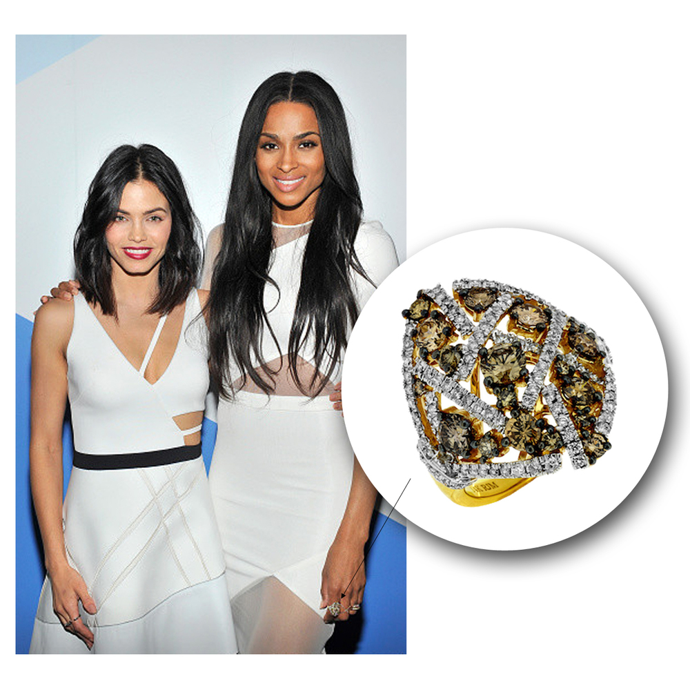 As gorgeous as can be, Ciara sparkles at the FORWARD by Elyse Walker Dinner Party in a one-of-a-kind yellow gold + diamond Royal Jewelry statement ring!