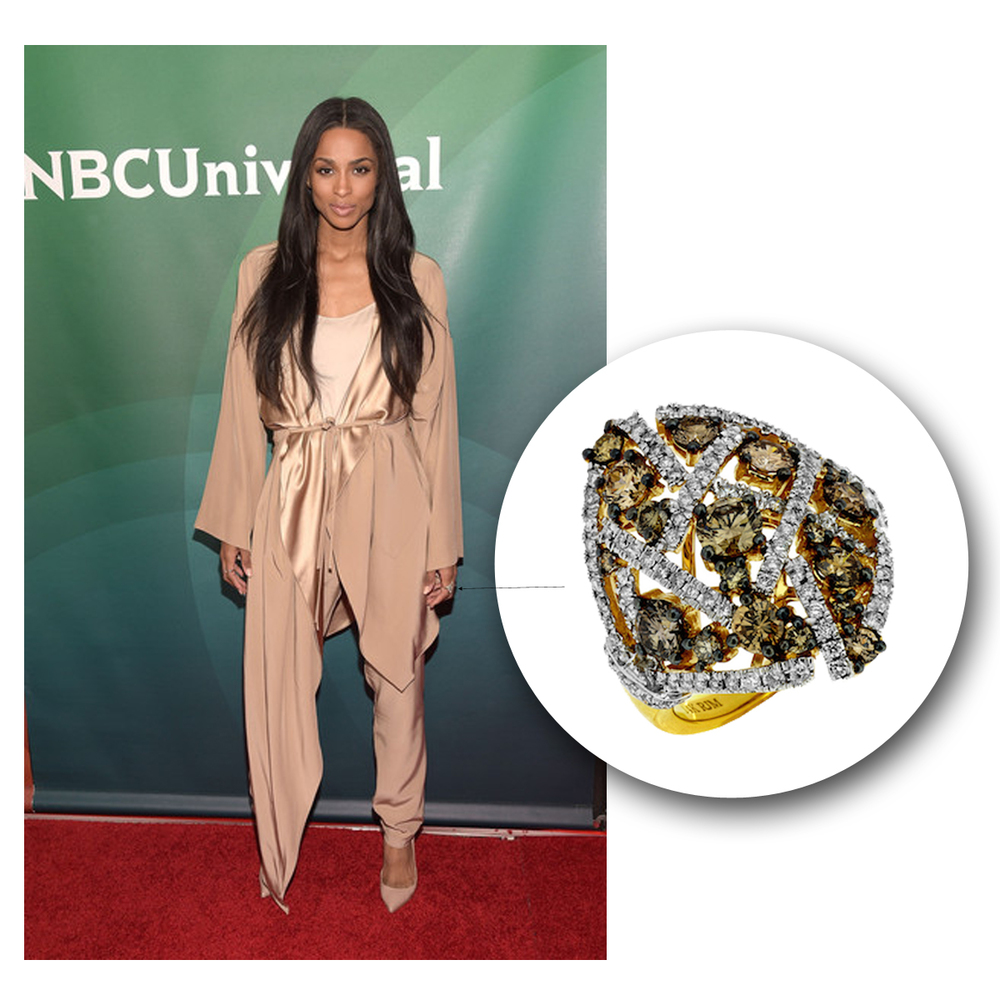 Ciara glistens on the red carpet of NBCUniversal for a Summer Press Day in this sparkling Royal Jewelry yellow gold + diamond ring!