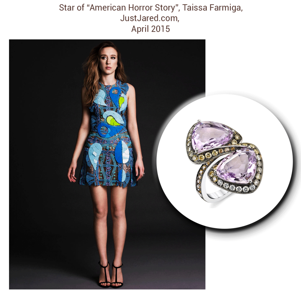 Color me pretty! How lovely does Taissa Farmiga look in this extravagantly beautiful Sylvie Collection ring?