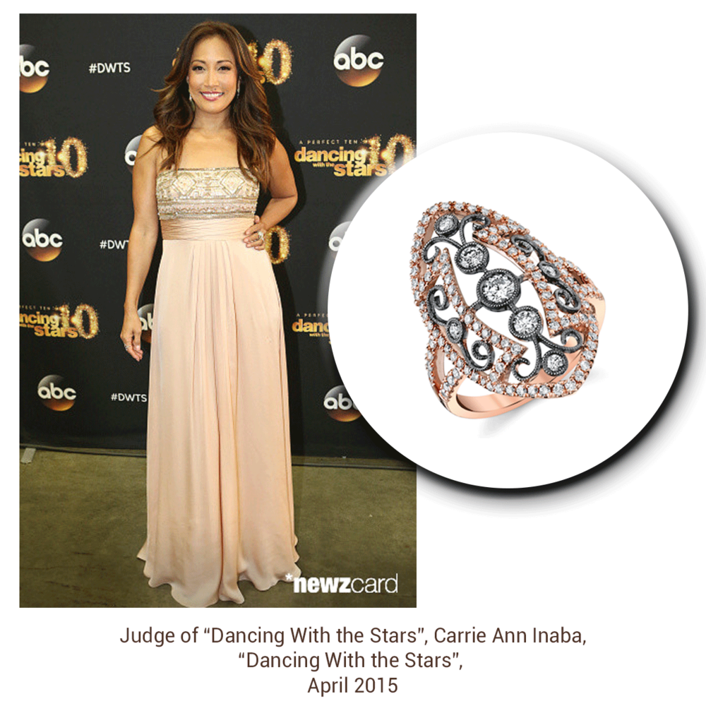 Carrie Ann Inaba takes the classy approach with a long, beautiful rose gold dress + a matching sparkling Sylvie Collection ring!