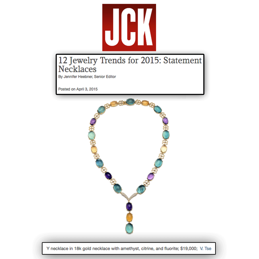 This spring, it's all about color! Thank you JCK Marketplace for featuring V.Tse's radiant necklace with an assortment of gemstones!