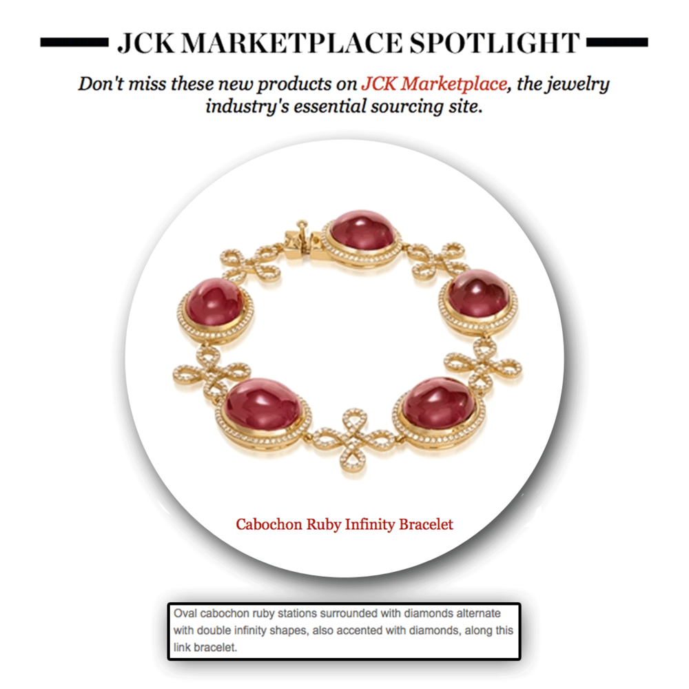 Radiant in ruby! Thank you JCK Marketplace for featuring this absolutely gorgeous cabochon ruby infinity bracelet, brought to you by V.Tse.