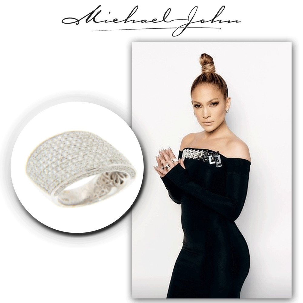 One word: flawless! J-Lo never fails to disappoint, and she especially radiates in this dazzling white gold Michael John Jewelry fashion ring, splashed with diamonds all around!