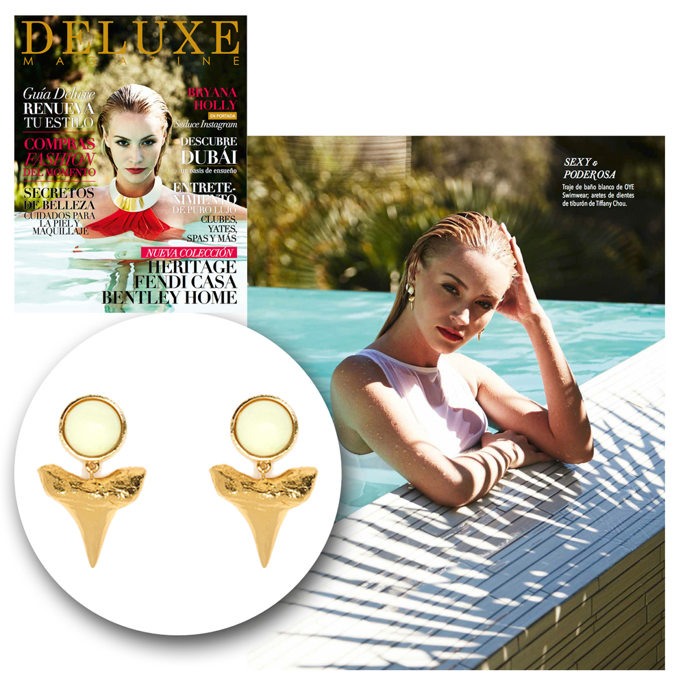 How flawless does Bryana Holly look...poolside &rockingthese Tiffany Chou shark tooth earrings!