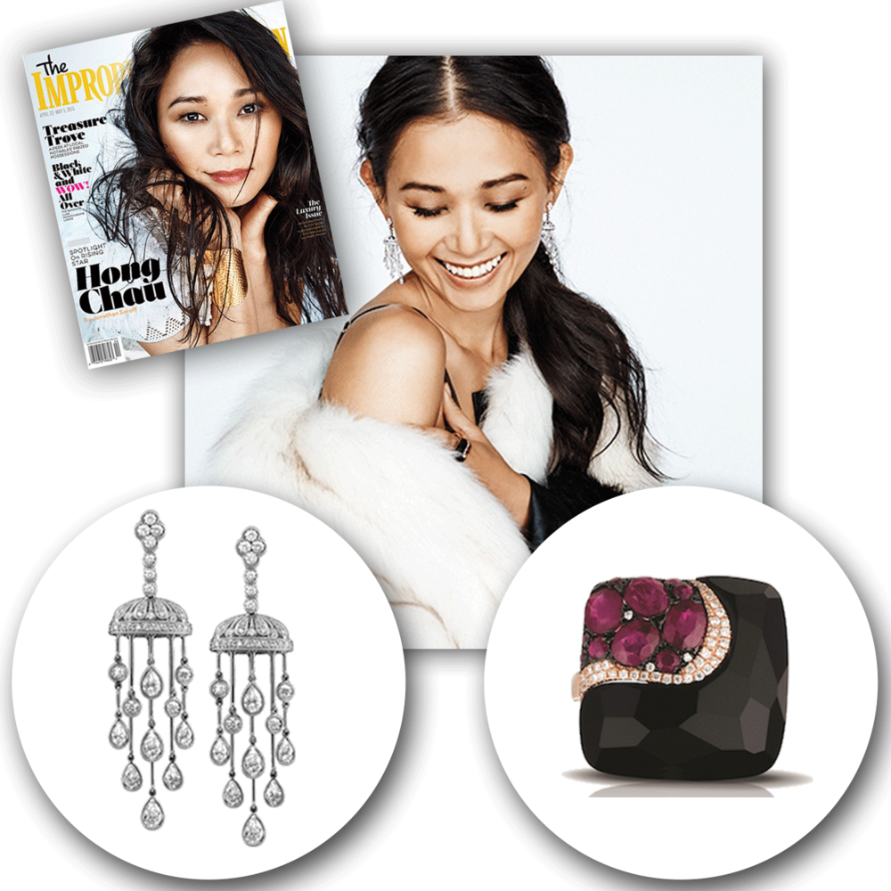 Thank you TheImproper Bostonianfor also featuring these lovely white gold + diamond Jack Kelege earrings, as well asthis big, bold Marco Moore ring in your latest issue!