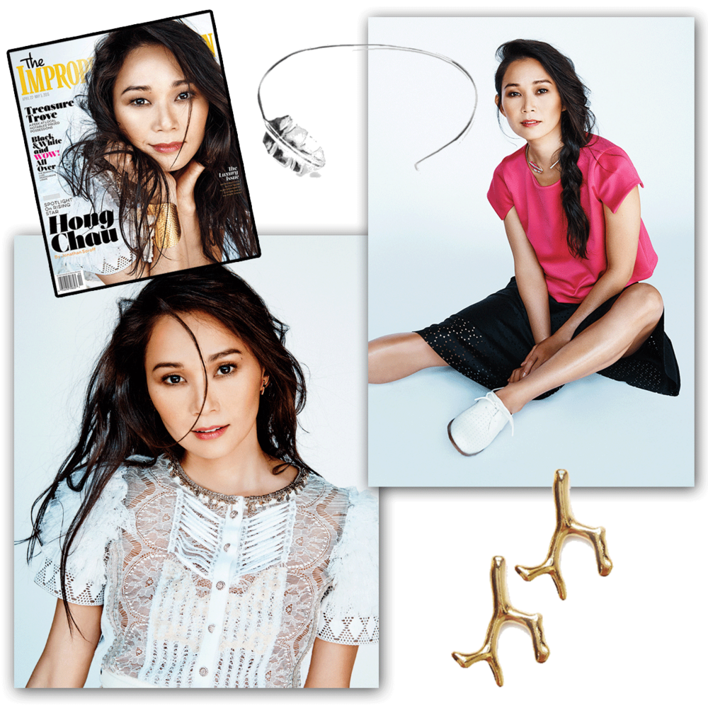 Delicate, yet trendy! Thank youThe Bostonian Magazinefor featuring Tiffany Chou's heart of the sea coral earrings, along with the hollaback girl neck cuff!