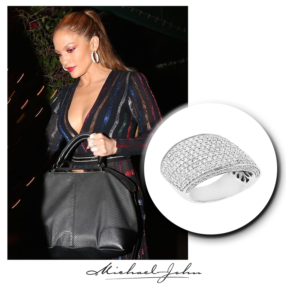 As colorful as the rainbow, J-Lo sparkles in this dazzling white gold + diamond Michael John Jewelry ring!