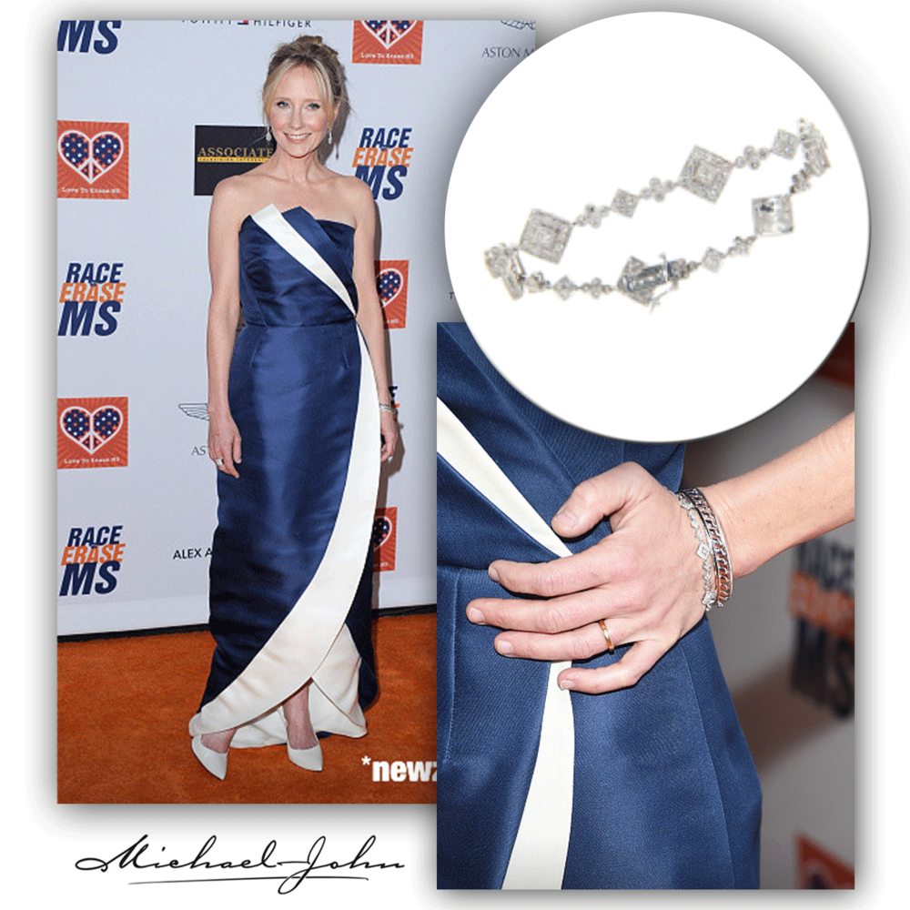 Picture perfect! Anne Heche is all smiles on the red carpet at the Race to Erase MS Event in her Michael John Jewelry tennis bracelet and matching Sylvie Collection white gold and diamond bangle + ring (below).