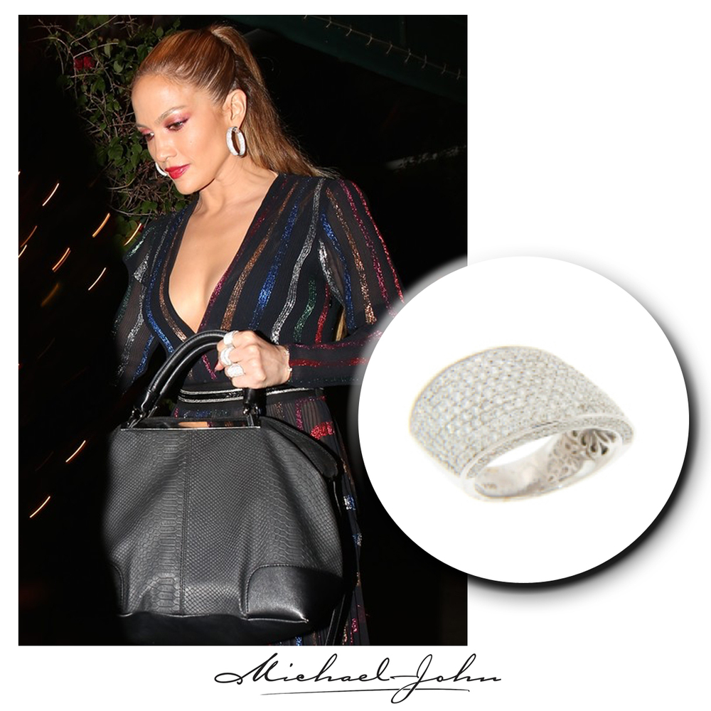 Truly beautiful, J-Lo shimmers in her colorful long black dress and matching Michael John Jewelry white gold + diamond ring!