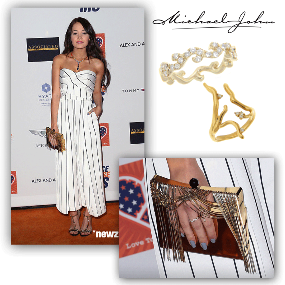 Trendy as can be, Kelli Berglund glistens on the red carpet of the Race to Erase MS Event in these delicateyellow gold + diamond Michael John Jewelrystylish rings.