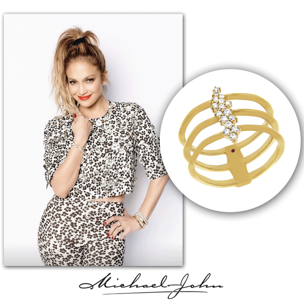 As purr-fect as can be, J-Lo takes cheetah print to a whole new level of trendy with her matching Michael John Jewelry yellow gold + diamond delicate ring.