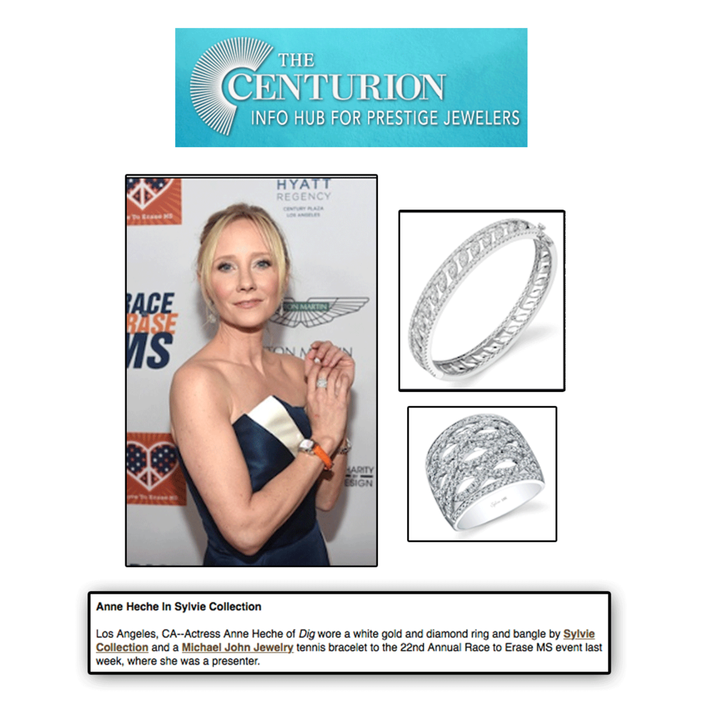 Thank youThe Centurion Newsletterfor featuring Anne Heche dripping in white gold + diamond Sylvie Collection jewels and matching Michael John Jewelry tennis bracelet (below).