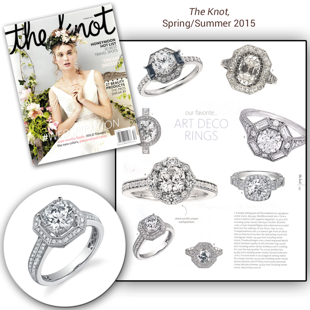 Sparkle with Sylvie Collection! How gorgeous are these white gold + diamond engagement rings, dripping with diamonds all around? Thank you The Knotfor featuring these beautiful rings in your Spring/Summer 2015 issue.