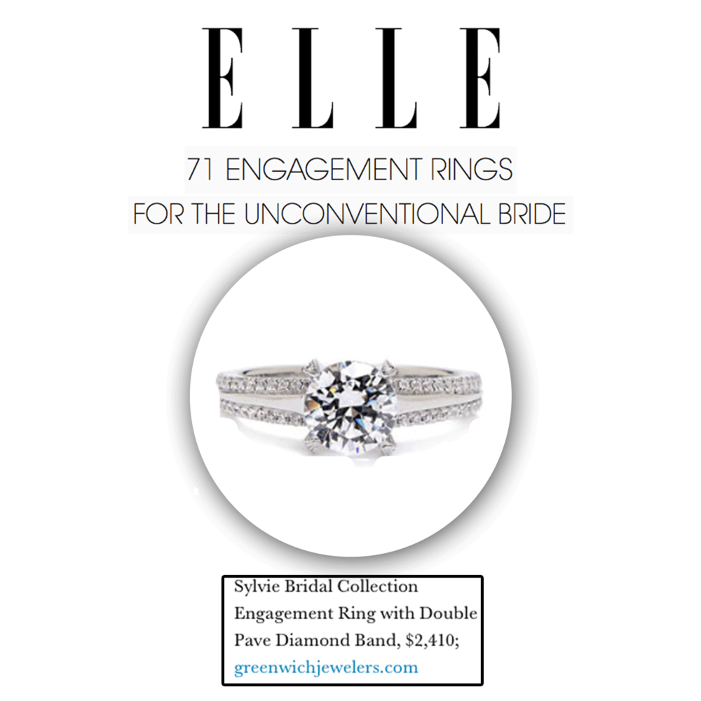 Thank you Elle.com for featuring this uniqueSylvie Collection engagement ring with a double pave diamond band!