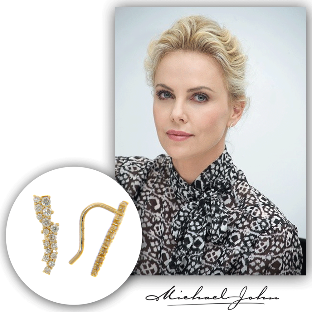 The beautiful blonde, Charlize Theron, sparkles in these delicate Michael John Jewelry yellow gold and diamond earrings at several press events this past weekend!