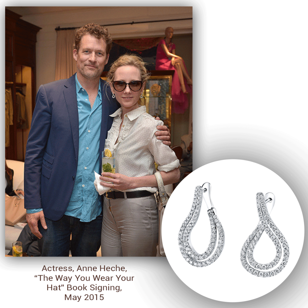 A true beauty, Anne Heche glistens at a recent book signing in these beautiful white gold and diamond Sylvie Collection drop earrings!