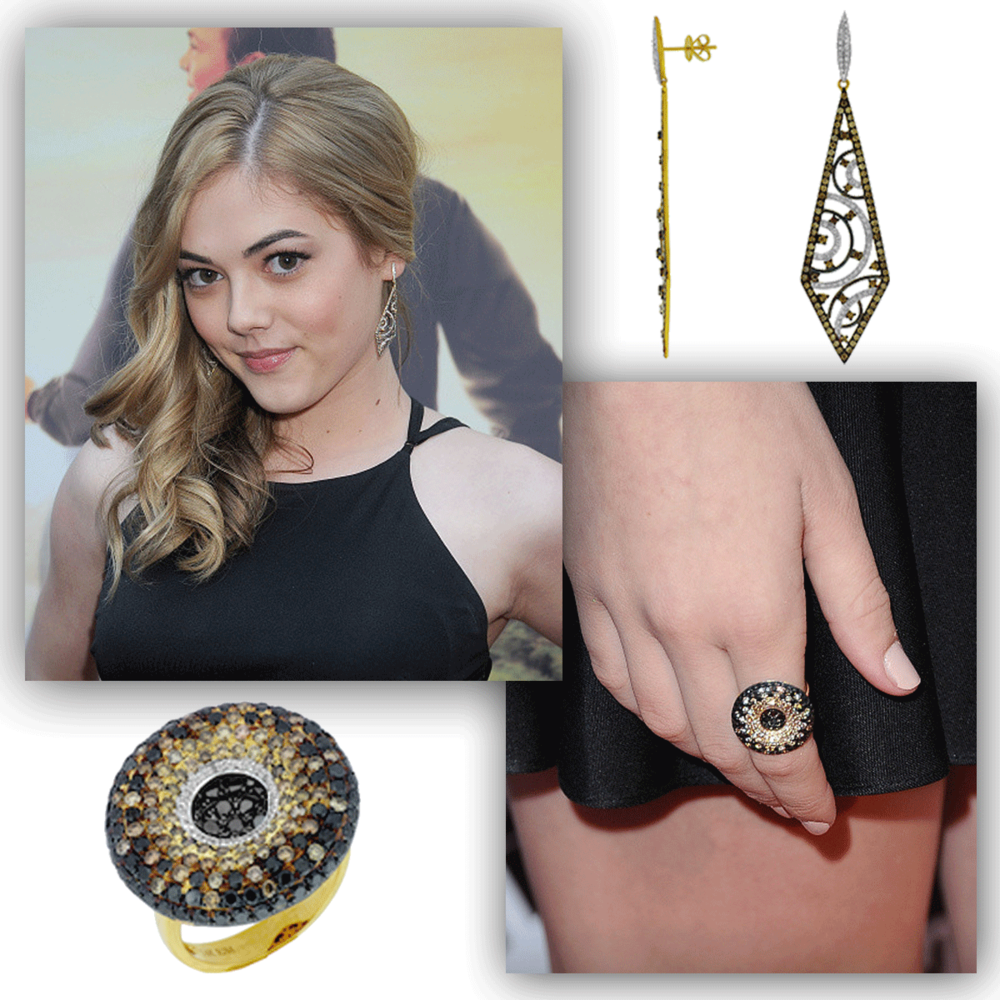 "Miss McKaley Miller glistens at the premiere of ""Where Hope Grows"" in these absolutely stunning Royal Jewelry earrings and matching ring!"