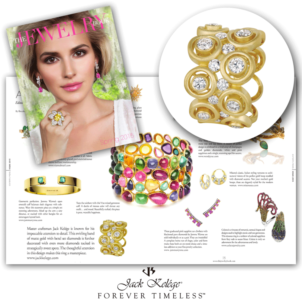 Impeccable as can be! Thank you The Jewelry Book for featuring this lovely yellow gold Jack Kelege statement ring, sprinkled with diamonds all around!