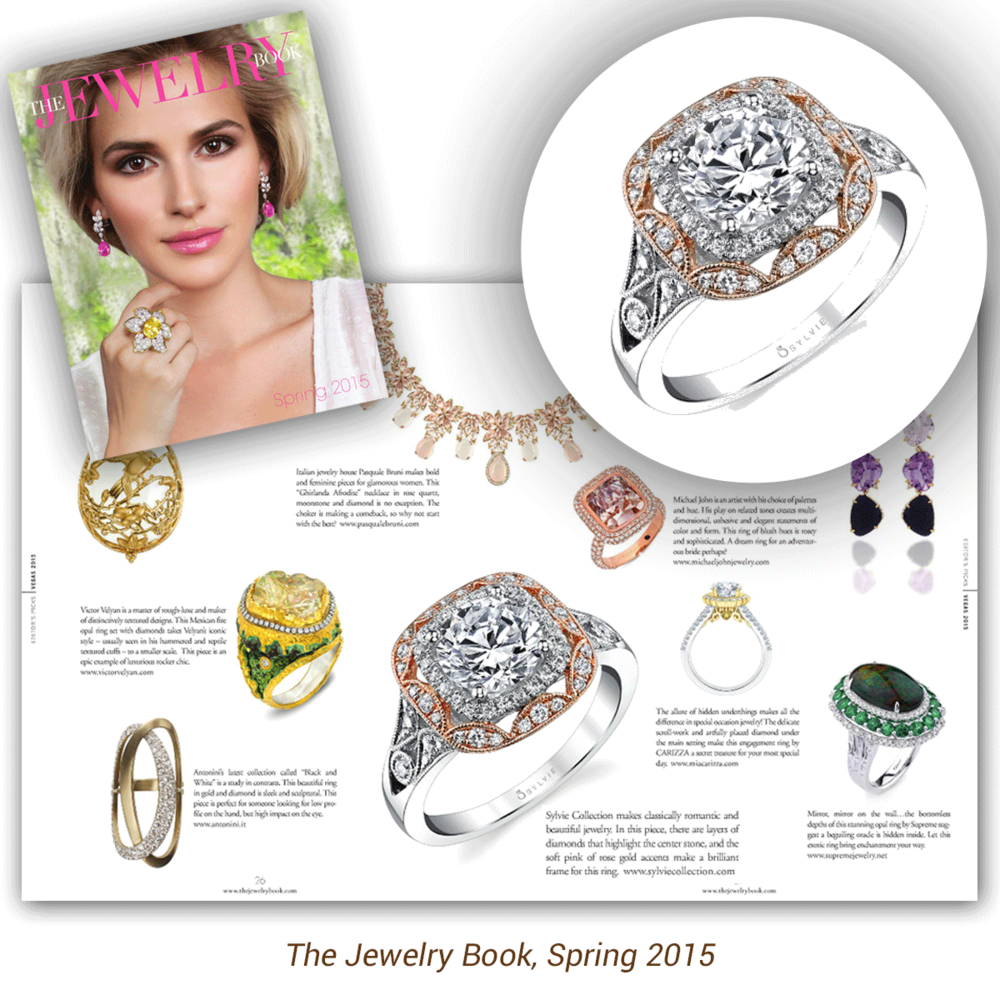 You can never go wrong with a classic! Thank you he Jewelry Book for featuring this beautiful white gold and diamond Sylvie Collection engagement ring, featuring rose gold accents all around!