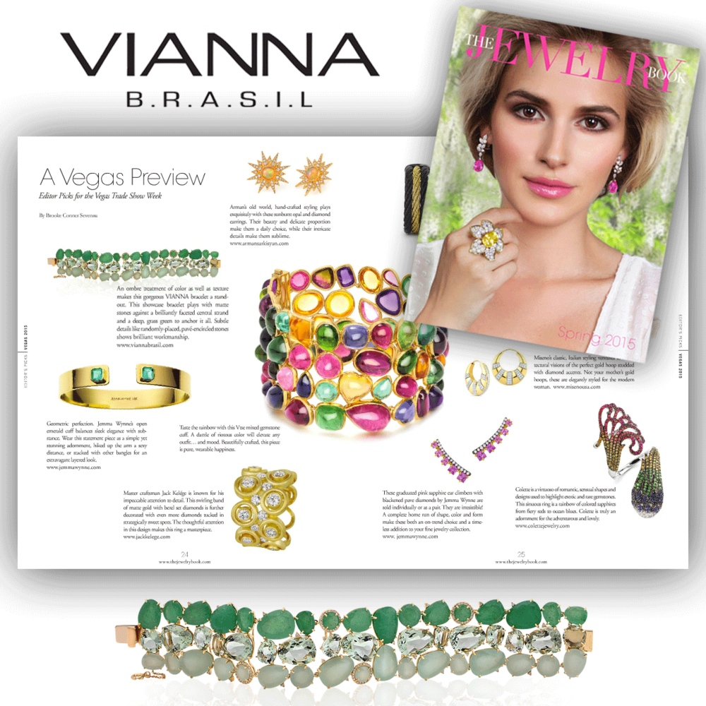 Fashion with passion! Thank you The Jewelry Book for featuring this dazzling green ombre VIANNA BRASIL bracelet.