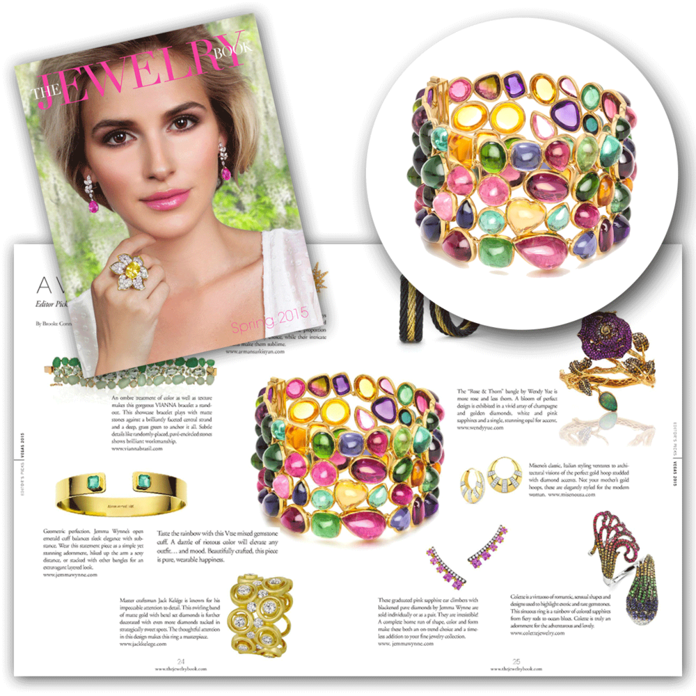 This spring and summer season, it's all about vibrant color! Thank you The Jewelry Book for featuring Vtse's ever so colorful cuff, featuring an assortment of vibrant gemstones!