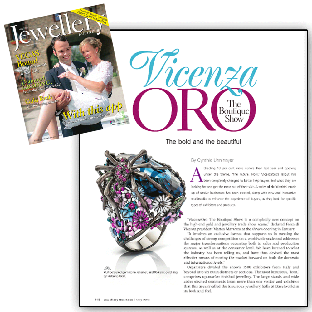 A creation of its own! Thank you he Jewelry Book for featuring VICENZAORO and a little synopsis on The Boutique Show.