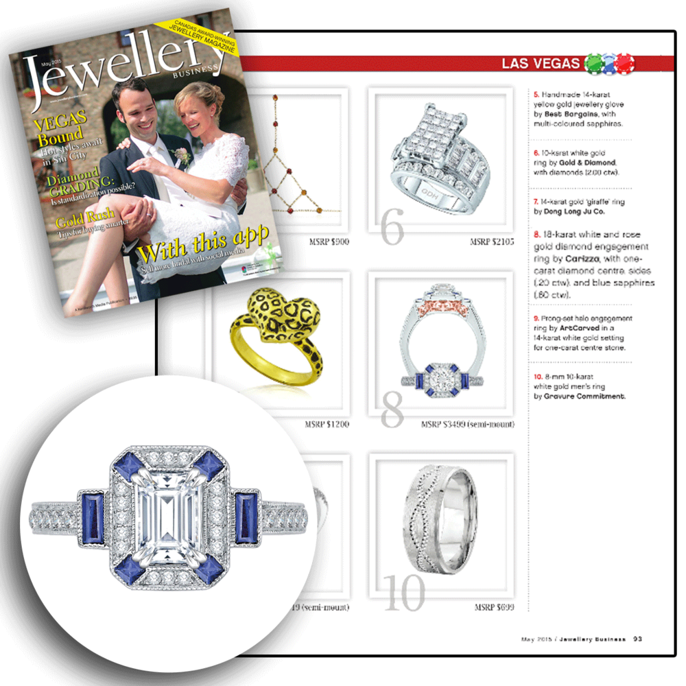Vegas ready? Thank you Jewellery Business for featuring this one-of-a-kind Carizza white gold and diamond engagement ring, sprinkled with blue sapphire stones all around!
