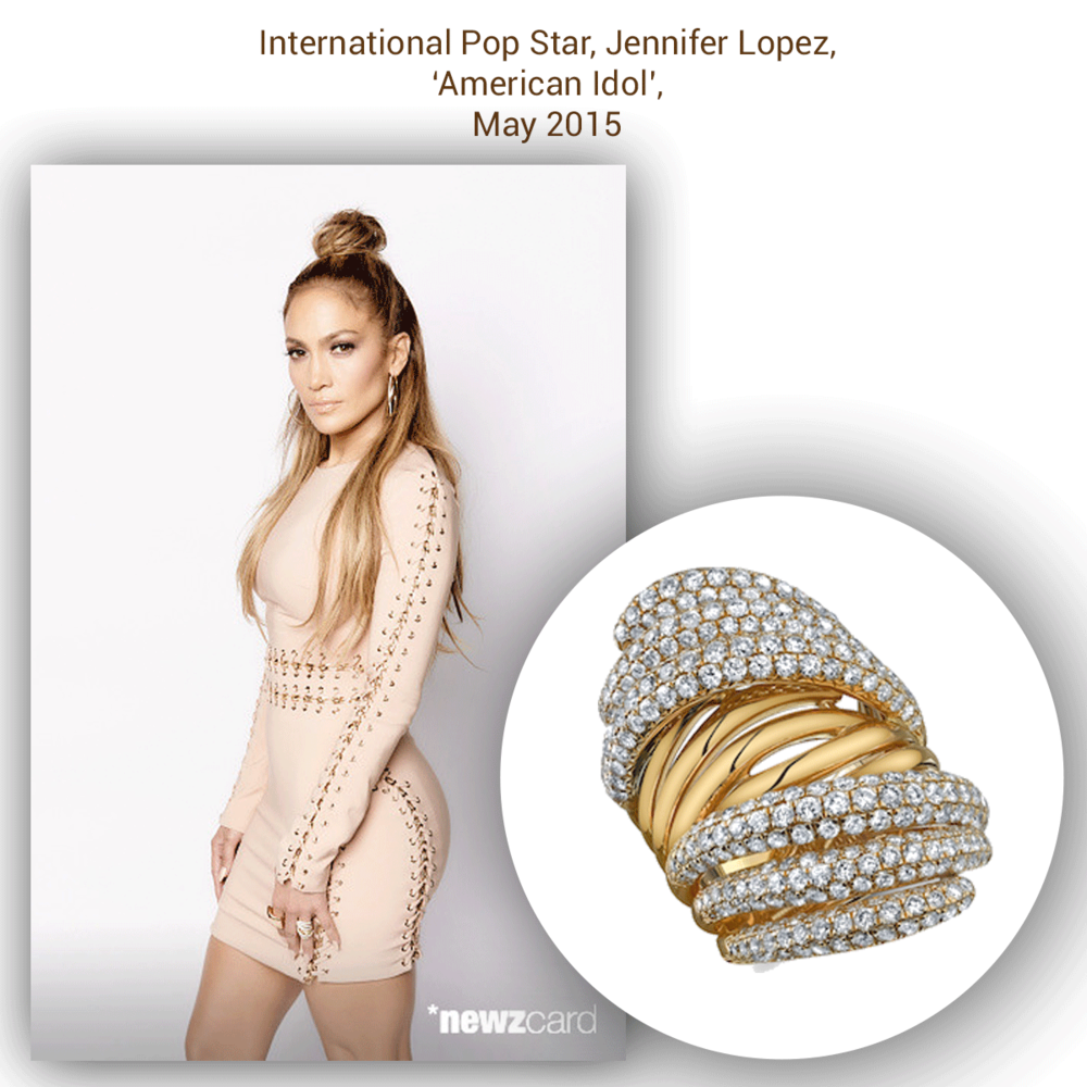 "Yet again, J-Lo effortlessly glistens on set 'American Idol' in Sylvie Collection's yellow gold and diamond ""J-Lo ring!"""