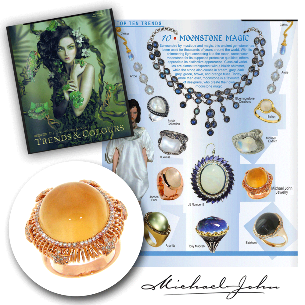 As bright and beautiful as can be! Thank you CIJ Trends & Colours for featuring this eccentric moonstone and diamond Michael John Jewelry statement ring!