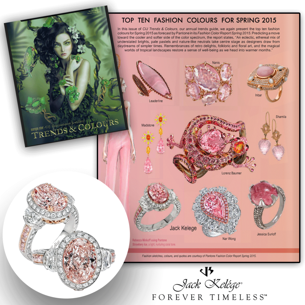 Pretty in pink! Thank you CIJ Trends & Colours for featuring this blushing Jack Kelege engagement ring featuring an assortment of sparkling diamonds all around.