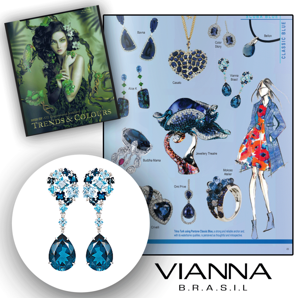 As bright and blue as the spring sky! Thank you CIJ Trends & Colours for featuring these dazzling VIANNA BRASIL drop earrings and statement necklace (below).