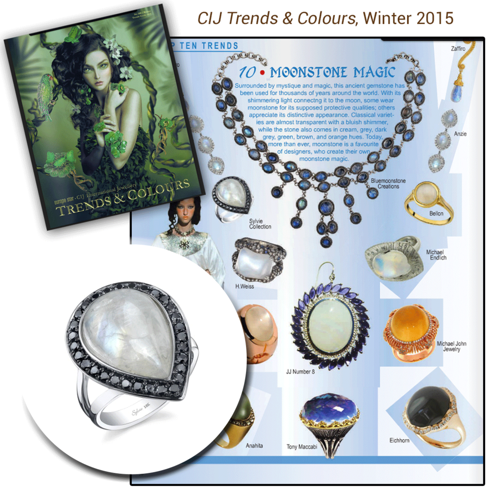 A taste of the night sky! Thank you CIJ Trends & Colours for featuring Sylvie Collection's magical moonstone and diamond ring!