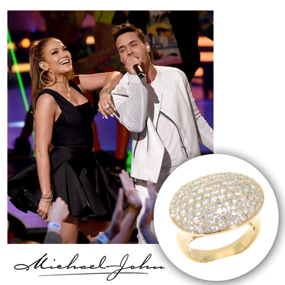 All smiles, Jennifer Lopez glistens in her black dress and matching Michael John Jewelry yellow gold and diamond statement ring, packed with pave diamonds!