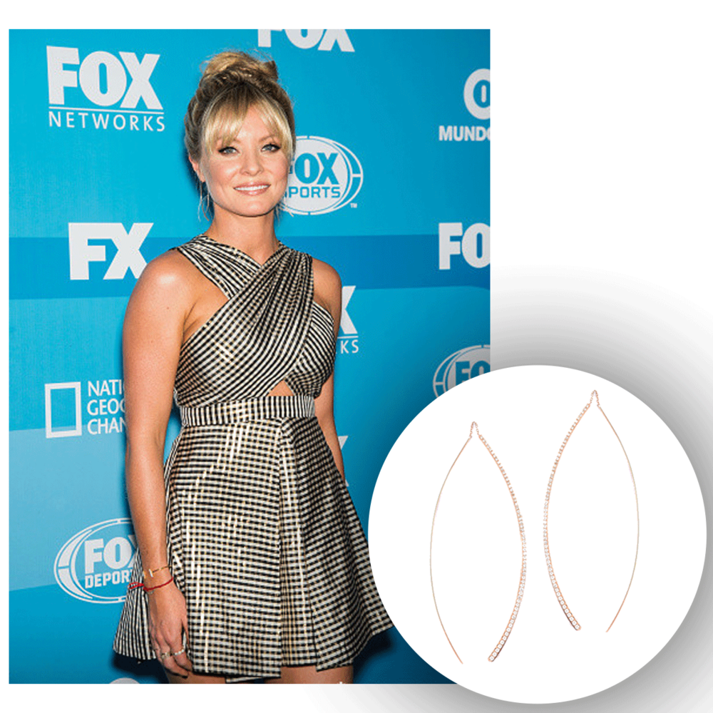 Always so radiant, Kaitlin Doubleday radiates at Fox's Programming Presentation in these delicate, yet oh so beautiful Supreme Jewelry rose gold and diamond drops, and Michael John Jewelry yellow gold and diamond cuff (below)!
