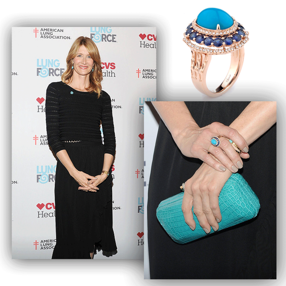 Big, bold and beautiful! Laura Dern shimmers in this Supreme Jewelry rose gold and turquoise statement ring, a perfect compliment to her sophisticated long, black dress!