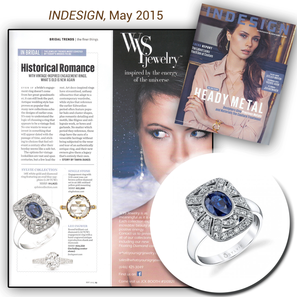 Thank you INDESIGN for featuring Sylvie Collection's absolutely gorgeous white gold and diamond engagement ring, featuring a blue sapphire center stone!