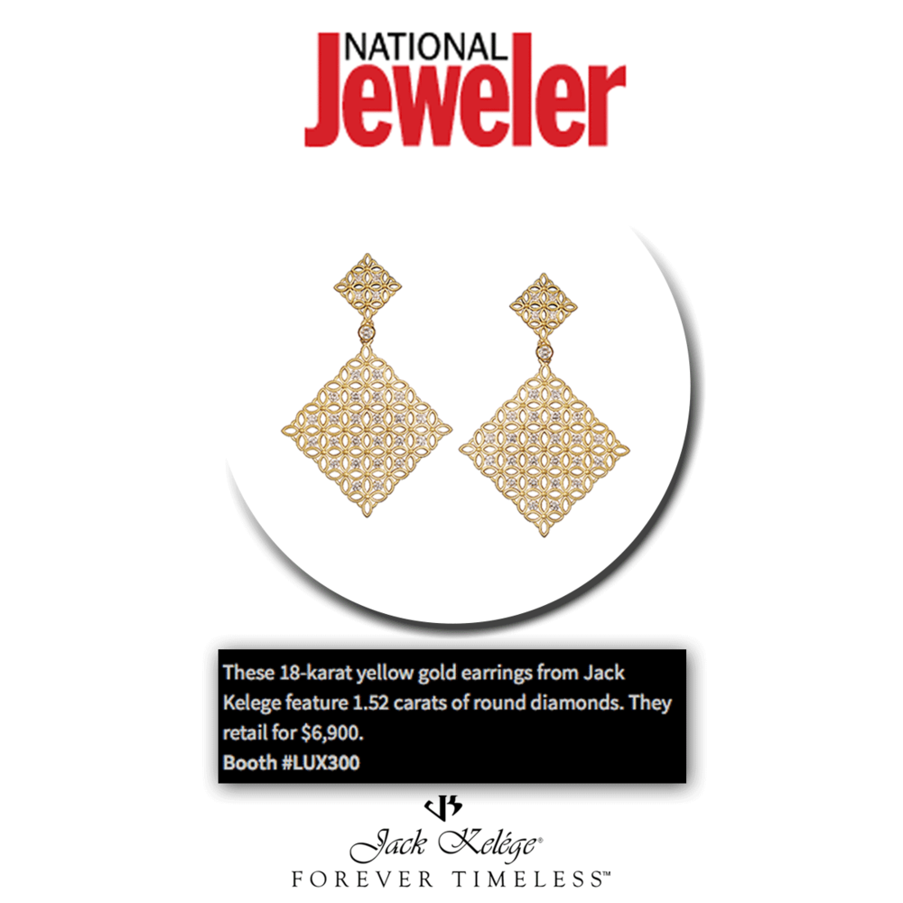 Thank you National Jeweler for featuring these ever so gorgeous yellow gold earrings with 1.52 carats of round diamonds, brought to you by Jack Kelege!
