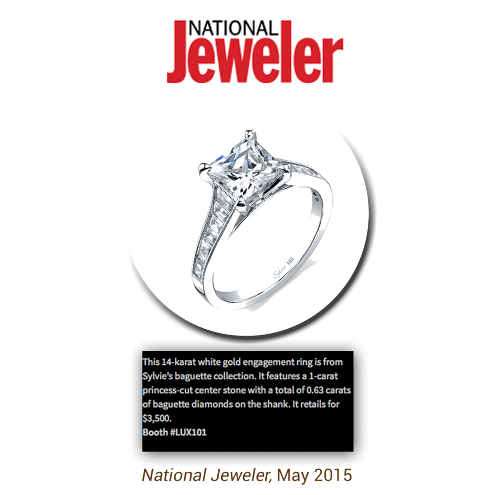 Thank you National Jeweler for featuring this classic white gold princess-cut engagement ring from Sylvie Collection's baguette collection!