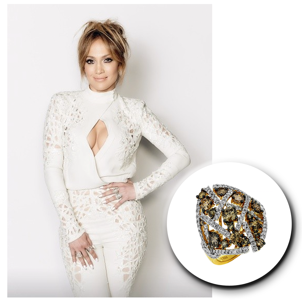 The one, the only, Jennifer Lopez sparkles in her trendy cream colored outfit and matching Royal Jewelry statement ring!