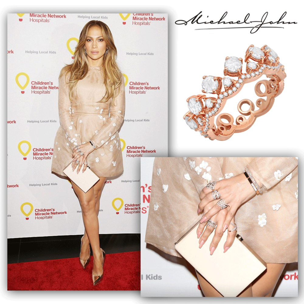 Oh what a doll! We love J-Lo's hand candy, especially her rose gold and diamond Michael John Jewelry band!