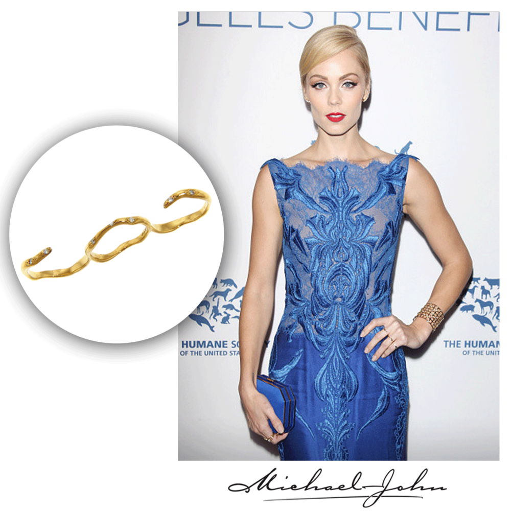 Lovely lady in blue! How gorgeous does Laura Vandervoort look in this delicate, yet fashion-forward Michael John Jewelry three finger ring!