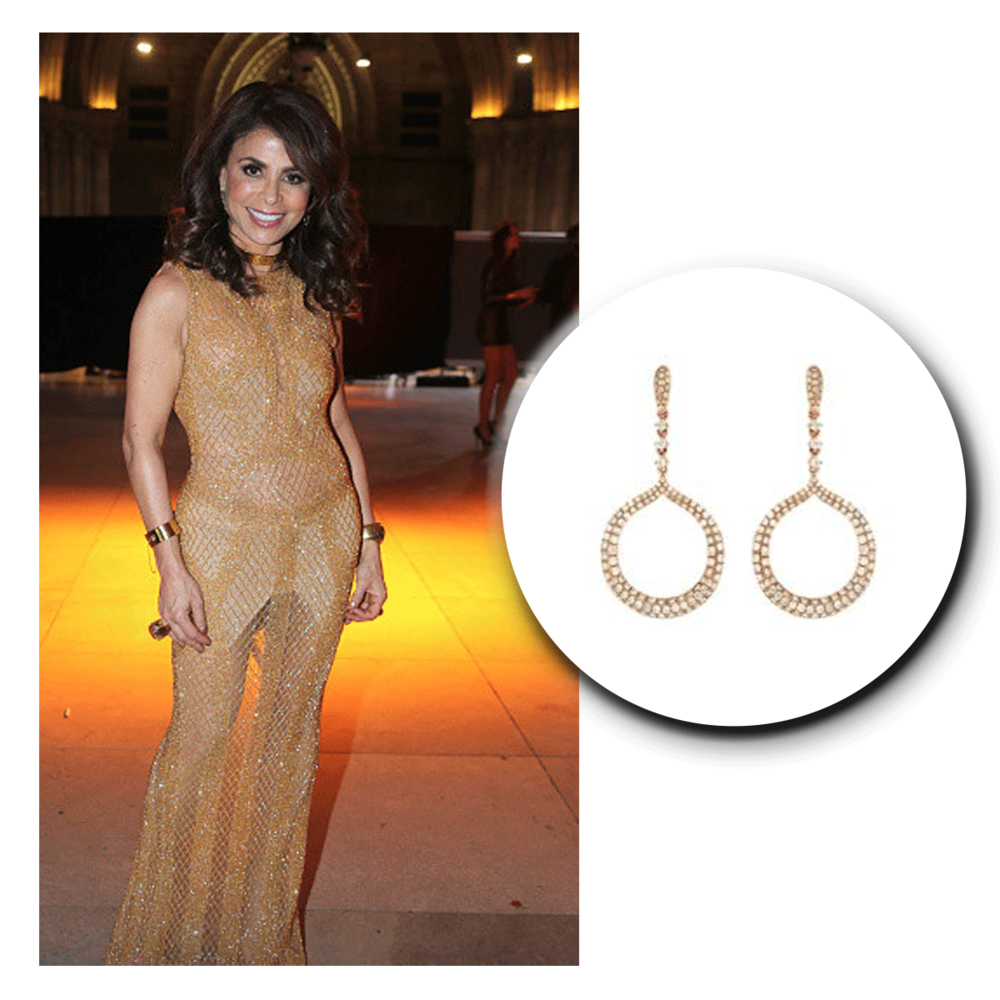 Drop dead gorgeous in gold! Paula Abdul shines under the night sky in these gorgeous yellow gold and diamond Royal Jewelry drop earrings!