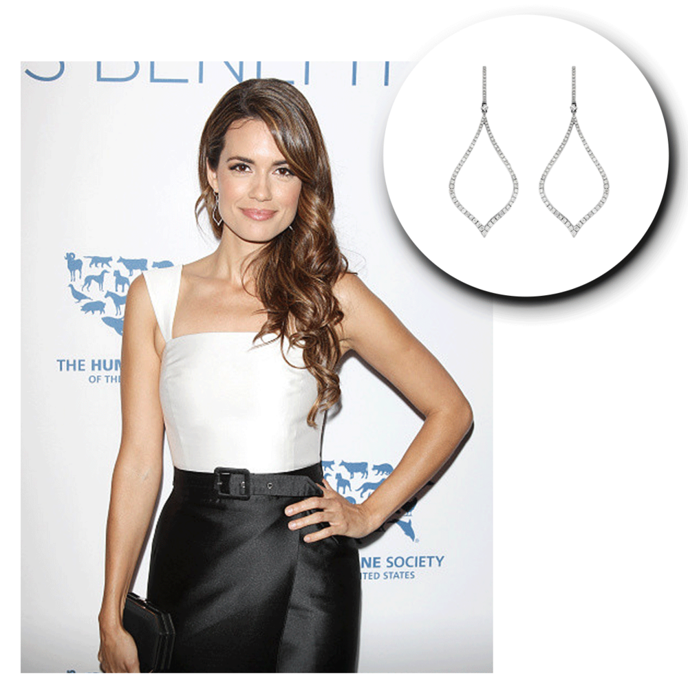 A classic look! Torrey DeVitto takes the red carpet in her chic outfit and matching white gold and diamond Royal Jewelry drops + a lovely Sylvie Collection statement ring (below).
