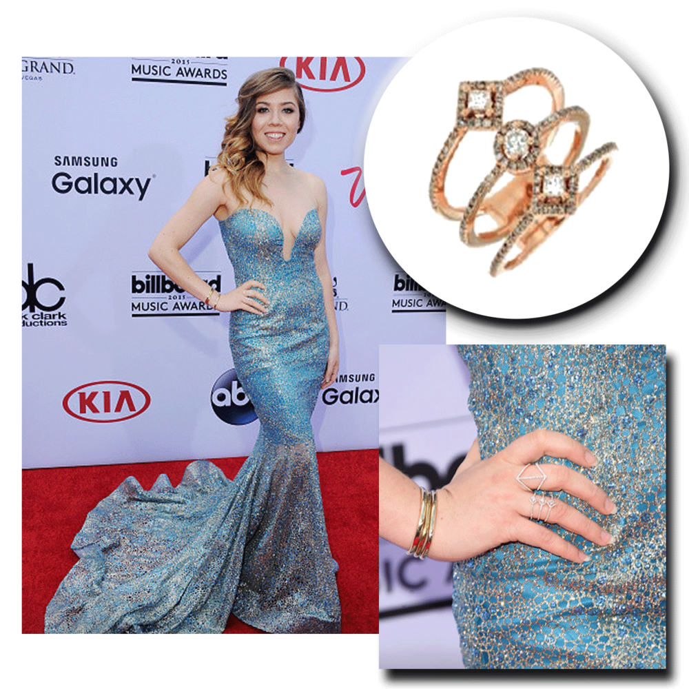 All sparkles, Jeanette McCurdy takes the red carpet at the Billboard Music Awards in a dazzling Royal Jewelry openly-spaced statement ring!