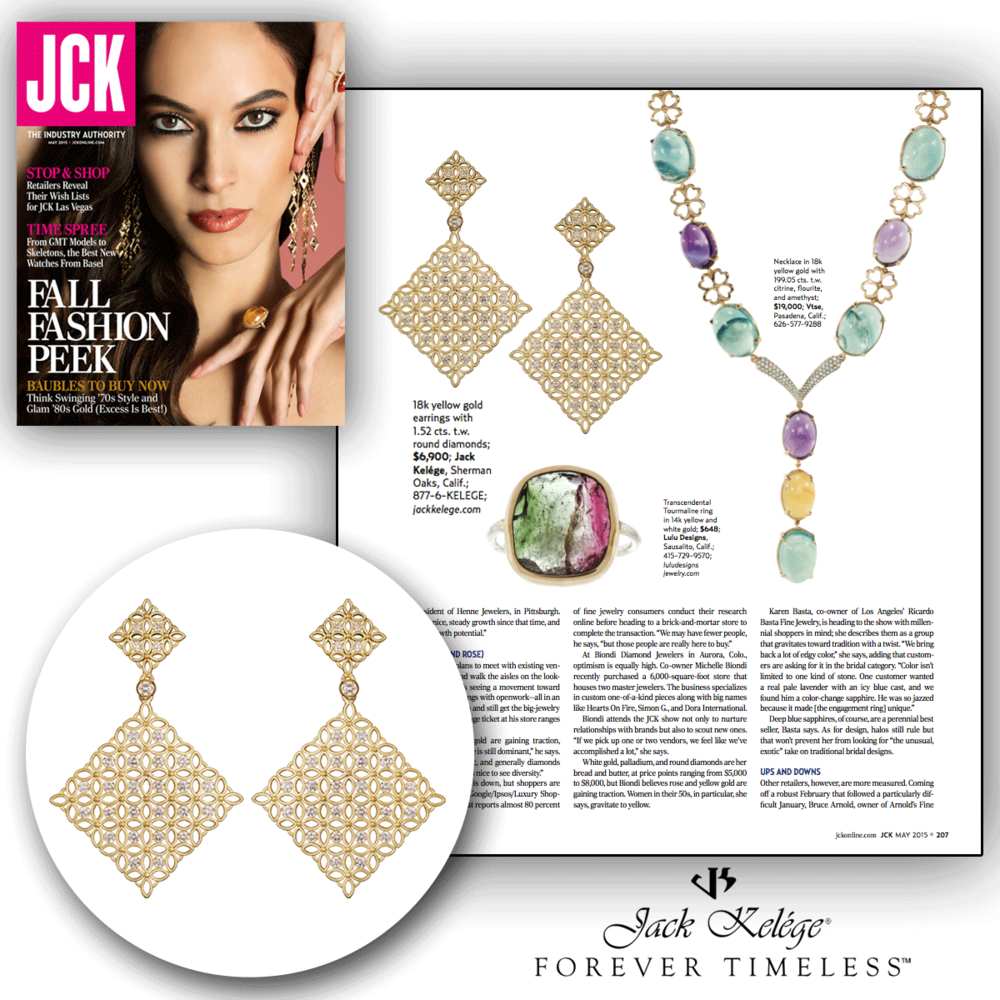 As radiant and elegant as can be! Thank you JCK Magazine for featuring these lovely yellow gold and diamond Jack Kelege earrings!