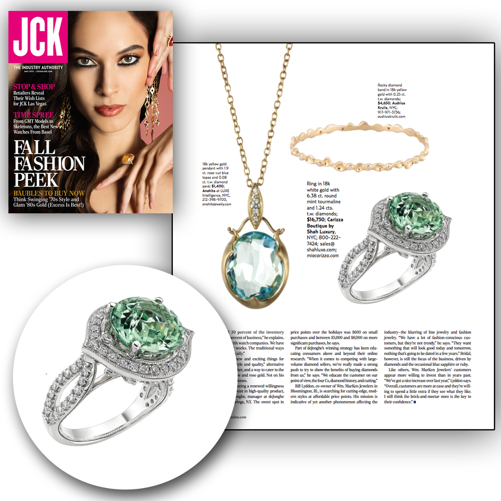 Sprinkle me pretty, pretty in diamonds that is! Thank you JCK Magazine for featuring this beautiful, one-of-a-kind Carizza engagement ring with a mint tourmaline center stone!