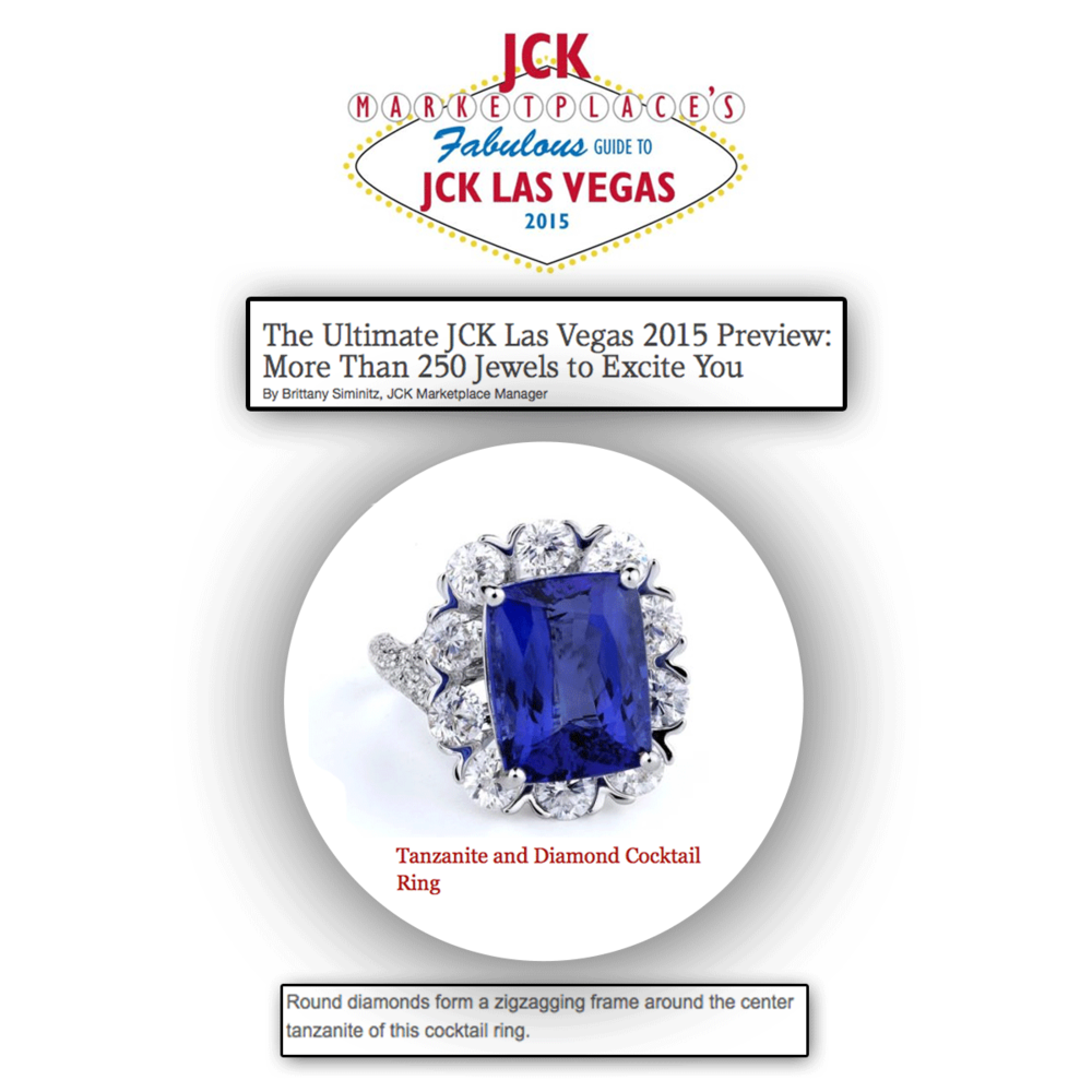 We are so JCK ready! Thank you for featuring this dazzling Supreme Jewelry tanzanite and diamond cocktail ring as one of the jewelry pieces to look out for!