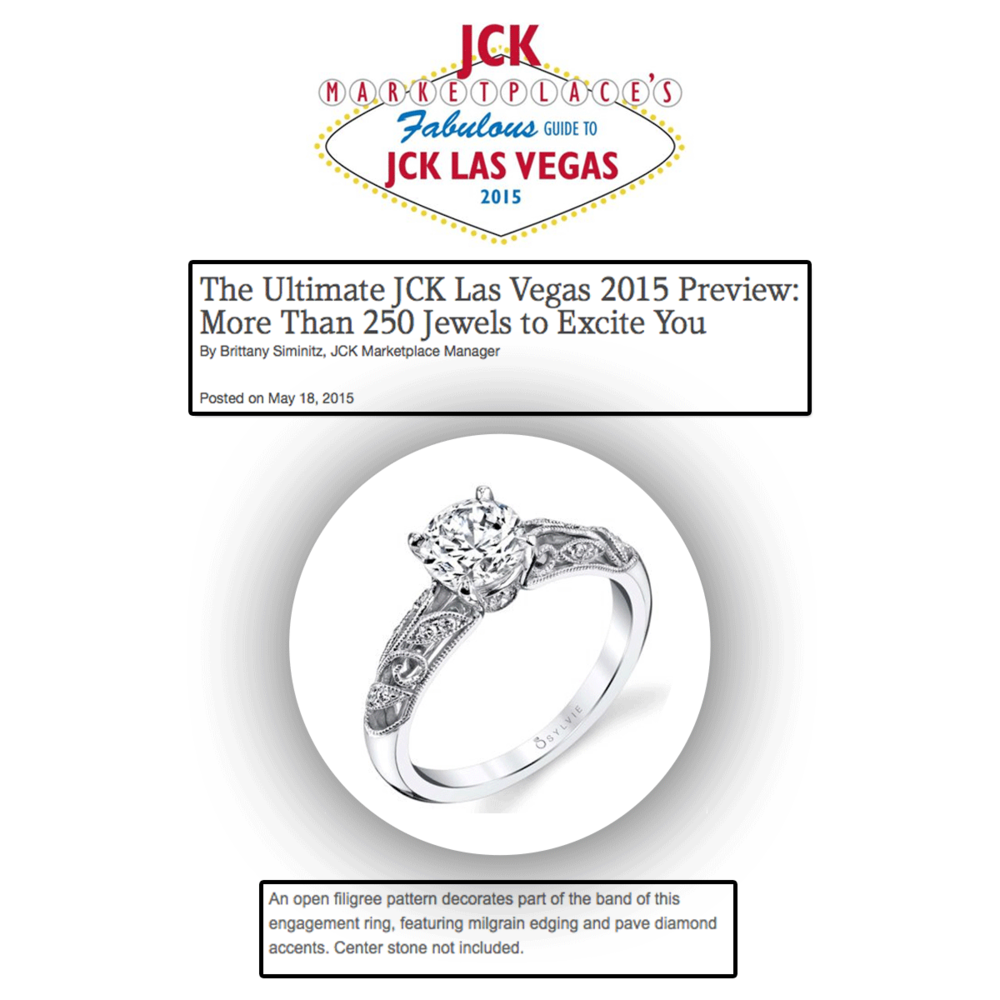 Sylvie Collection speaks royalty with this vintage-inspired filigree pattern engagement ring, and we are so thankful to JCK Marketplace for featuring this stunning piece!