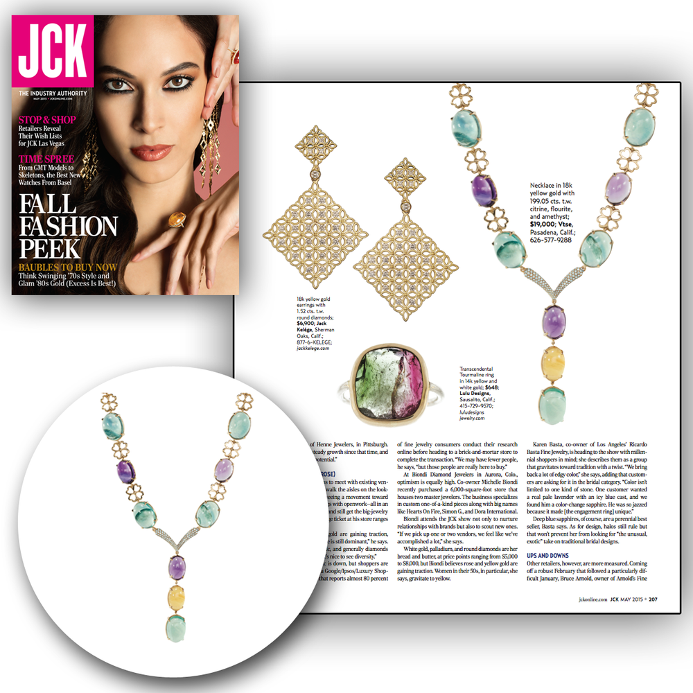Color yourself pretty, Vtse pretty that is! Thank you JCK Magazine for featuring this lovely multi-colored gemstone necklace!